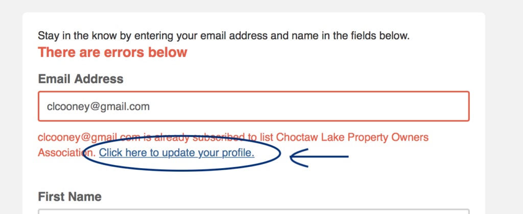can i change my email address for choctaw lake emails